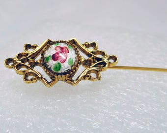 Stick Pin Guilloche Red Flower Vintage Victorian Revival gold tone Gothic Filigree