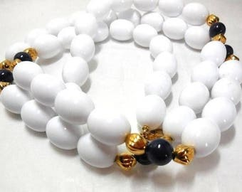 Vintage Beaded MONET Necklace White Navy Gold Classic 38""