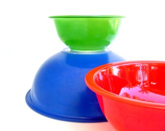 Vintage Pyrex Bowls Glass Mixing Bowl Set Blue Red Green Pyrex Glassware Color Line Clear Bottom Kitchen Cookware