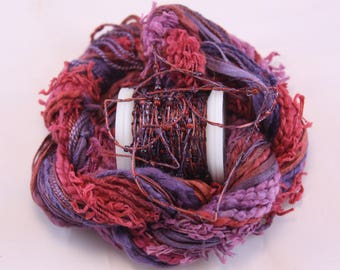 Eggplant Purple Merlot red Beaded Embroidery thread with seed beads waldorf doll hair hand dyed weaving fibre art embellishment bead yarn