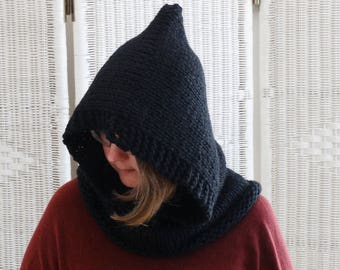 BLACK HOODED COWL. Knit Cowl.  Womens Pixie Hood. Black Pixie Hood. Oversized Knit Cowl. Hooded Scarf. Pixie Hood for Women. Chunky Scarf.
