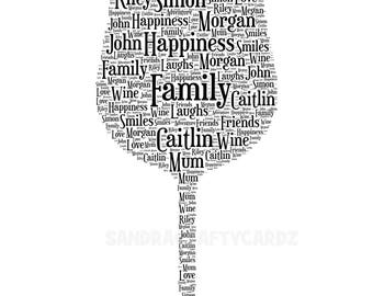 Wine Glass Personalised Word Art Gift, Present, Unique, Wedding Gift, Bespoke Art