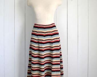 34% Off Sale - High Waist Skirt - 1960s Mid Century Skirt - Striped A Line Vintage Midi Skirt - XS / Small S