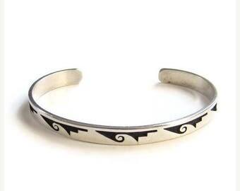 ON SALE Vintage Hopi Harvey Quanimptewa Silver Overlay Cuff Bracelet Signed HQ Native American