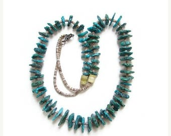 ON SALE Heishi and Graduated Turquoise Shard Necklace C1960s Vintage Southwestern Tribal