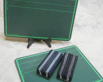 Lot of 2 Vintage School Green Pupil Chalkboards-World Research--with 2 Vintage Baker Felt School Erasers-School Supplies/Home School