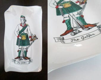 The Golfer Ceramic Decorative Tray Vintage Rosenfeld Imports // Mid Century Golf Trinket Dish Collectible