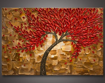 "Large 24""x36""x 1.5"" - Original Red Tree Impasto Abstract Textured Painting - Palette Knife - Gallery Canvas - Wired Ready to Hang * FREE S&H"