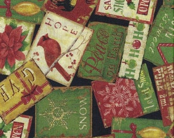 CIJ CLEARANCE!  Christmas At Home, South Sea Imports, Cards, 1/2 Yard