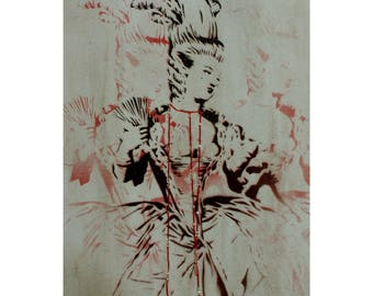 Marie Antoinette Painting 12x16 Original Painting Mixed Artwork French Versailles Stencil Acrylic Spray Paint Pinup Art Burlesque Painting