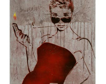 Audrey Hepburn Painting 14x18 Bloodbath At Tiffanys V5 Graffiti on Canvas Street Art Inspired Original Painting Movie Poster Strong Female