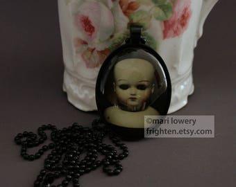 Halloween Pendant, Creepy Doll Head. Vintage Doll, Dark Jewelry, Weird Necklace, Creepy Art, frighten