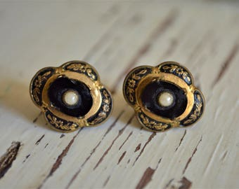 Antique Mourning Black Onyx Glass Seed Pearl Gold Oval Screw Back Earrings