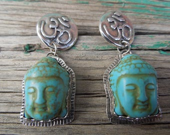 Buddha Om Godhead Sterling dangle post Earrings - Turquoise Howlite and Sterling Silver