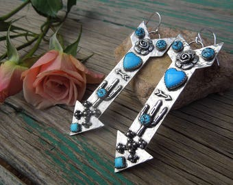 Giant Statement Arrow Earrings - American Turquoise and Sterling - Sleeping Beauty Kingman - Coolest Earrings in the whole world