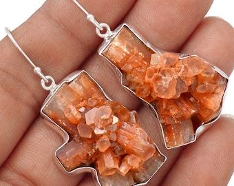"""Aragonite Star Cluster Earrings. 2"""" long. 8022"""