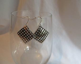 Silver Square Earrings, earrings, dangle, square, crisscross