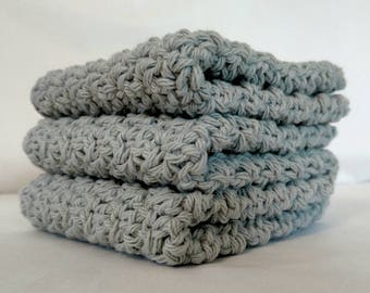 Dishcloth Set Gray Cotton Crochet - 3 Pack Extra Large 9x9