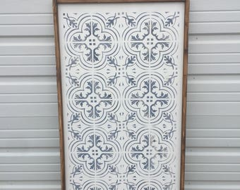 Handpainted wood tile design, 24x48 ready to ship (1 only) 10.00 off original price