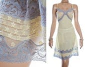 Stunning 'Charmor' sheer silky soft lemon nylon and delicate silver grey lace and embroidery detail 60's vintage full slip petticoat - 3958
