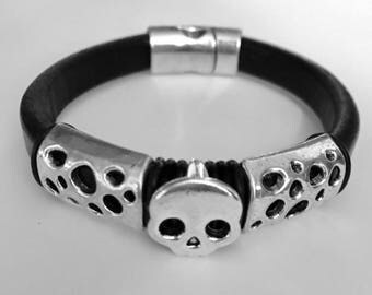 licorice leather woman skull bracelet made to order