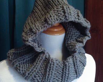 Grey Hooded Scarf, Infinity Scarf, Knit Hood, Child Scarf, Womens Scarf, Knit Hooded Scarf, Knit Infinity Scarf