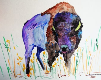watercolor bison, abstract animal art, watercolor painting, original watercolor painting, original art, colorful animal art, wildlife art