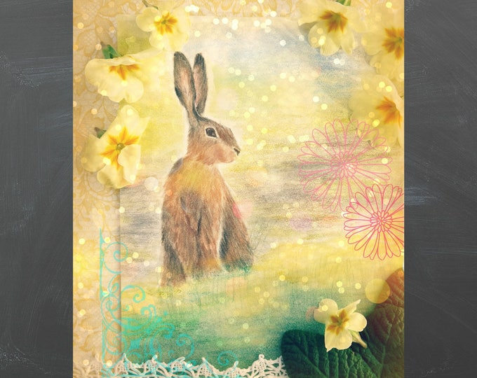 Easter bunny digitalgreeting card, printable easter card with painted easter bunny and primroses, children's card, spring postcard
