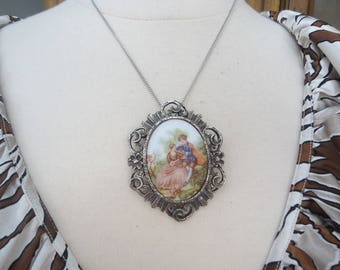 "Vintage Ceramic Cameo Pendant/Brooch, Victorian Man and Woman, in Dark Silver Ornate Setting on 18"" Steel Chain"