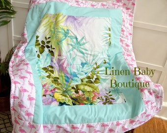 Pink Flamingo Baby Blanket.  Baby Bedding, Crib Bedding. Pink Flamingo and Watercolor Tropical Print. Ready to Ship!