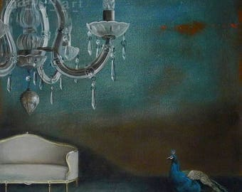 On Sale Still life Painting, Print, The lonely peacock, acrylic painting, crystal chandelier, old blue, antique furniture interior art,