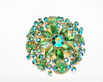 Vintage Brooch Green Teal Rhinestones Beaujewels Wedding Bridal Sash Jewelry Jewellery Gift Idea Statement Wardrobe Accessory