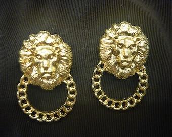 Vintage Estate GOLD LION EARRINGS