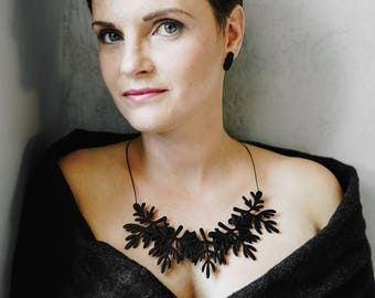 Black Plywood floral necklace