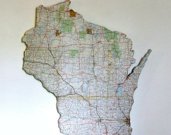 Wisconsin State Map Etsy - Wisconsin state map