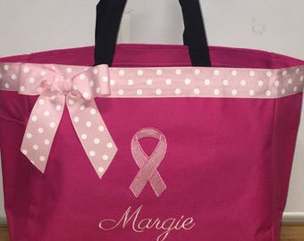 Personalized Pink Ribbon Breast Cancer Awareness Bag Tote