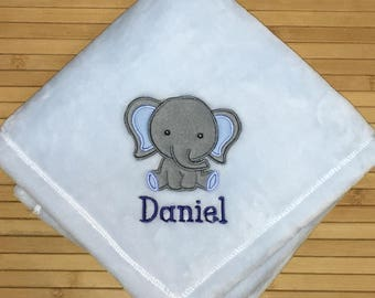 Personalized Embroidered Cute Elephant Boy Baby Blanket