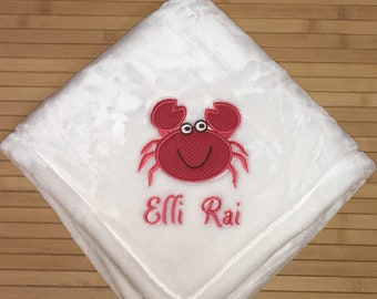 Ocean Crab Applique Baby Blanket Personalized Free
