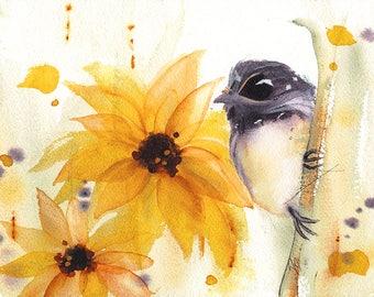 Wildflower Fine Art Print, Floral Art,  Bird Art Print, 16 x 12 Botanical Art, Chickadee & Sunflowers