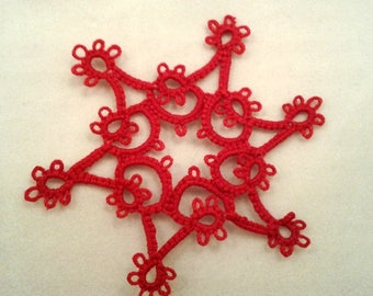 Red shuttle tatted lace snowflake ornament