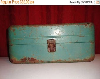 ON SALE Tackle Box Fishing Rusty Green Tackle Box Storage Container Primitive TREASURY Item