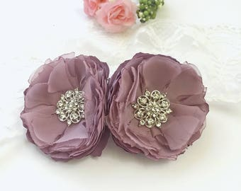 Vintage Lilac Hair Clips, Shoe Clips, Brooch Pin - Satin Chiffon Flowers for a Bride, Bridesmaid Gift,  Wedding, Special Occasion - Ana