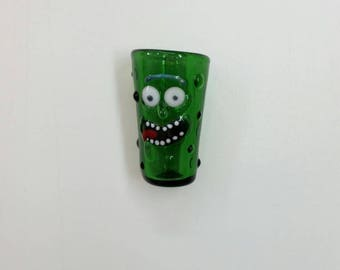 Pickle Rick Shot Glass ~ hand sculpted boro glass ~ Rick and Morty