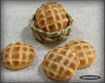 Miniature bread, handmade dollhouse food, 12th scale bread, artisan bread