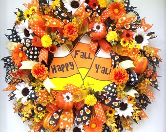 Candy Corn Wreath, Fall Wreath, Deco Mesh Wreath, Halloween Wreath, Orange, Black, White,Yellow, Pumpkins, Wall Wreath, Door Wreath, Full