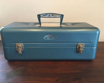 Old Pal Fishing Tackle Box Blue Metal Bait Box
