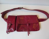Vintage Red Leather Fanny Pack - Leather Waist Pack - Retro Bum Bag