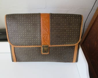 Vintage Laptop  Briefcase Portfolio Leather Trimmed Attache
