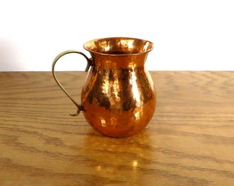 Vintage Copper Pitcher with Brass Handle Hammered Copper Serving Pitcher Farmhouse Kitchen Rustic Home Decor
