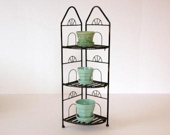 Black Metal Shelf, Vintage Plant Stand, Painted Shelves, Standing Corner Shelf, Indoor Outdoor Shelving, Collapsible Tiered